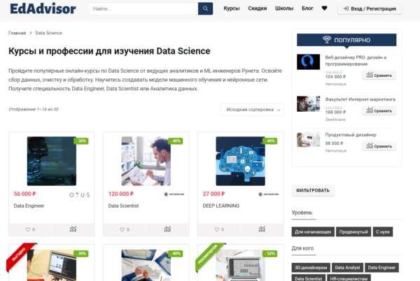 Актуальные онлайн-курсы по теме Data Science
